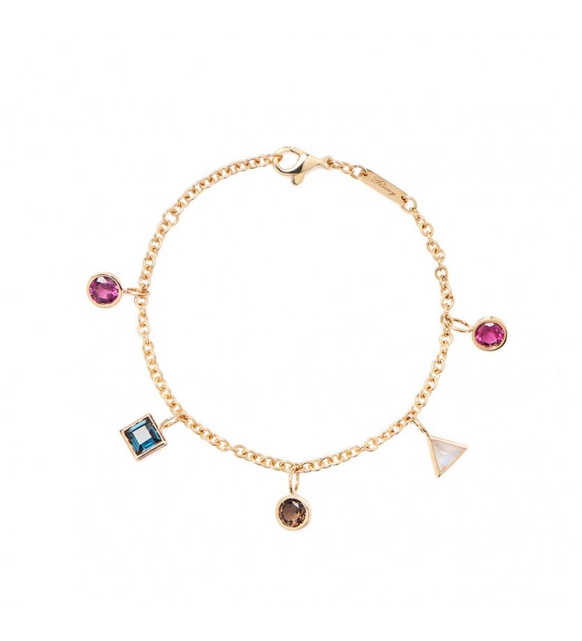Bracelet Lolita or jaune assortiments de pierres 17.5cm