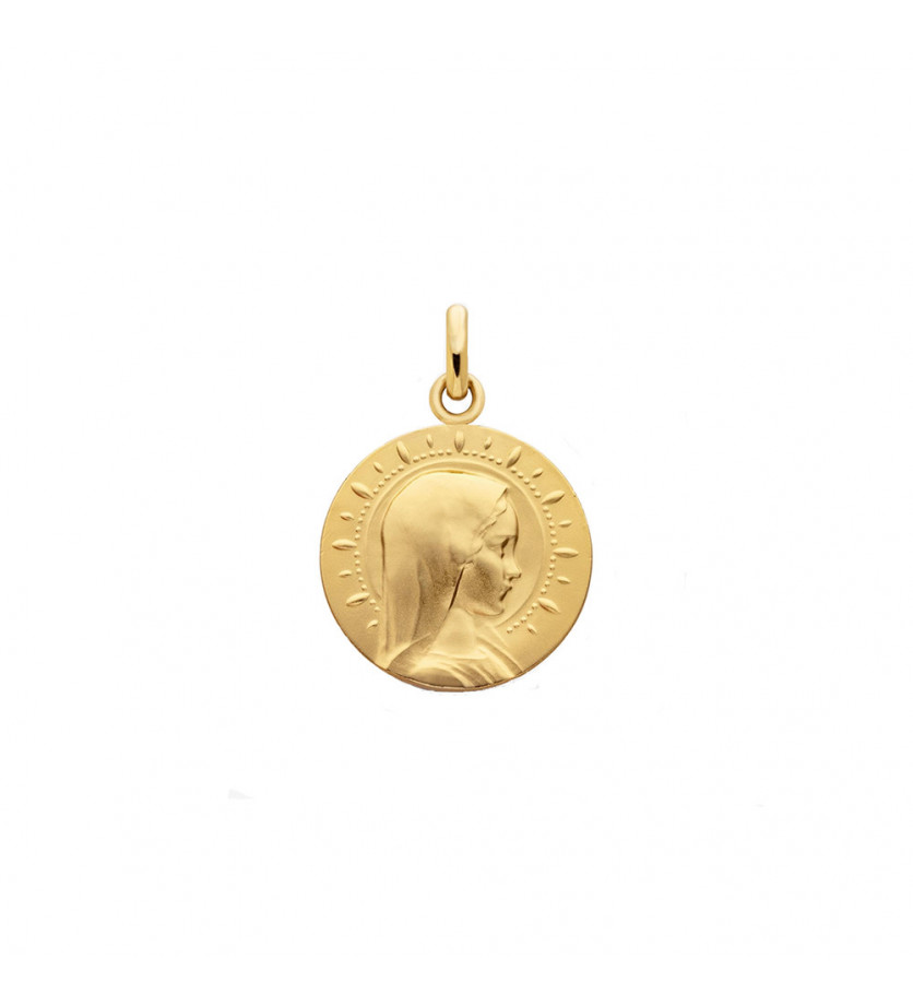 Médaille Vierge Jeune étoilée or jaune sablée 18mm