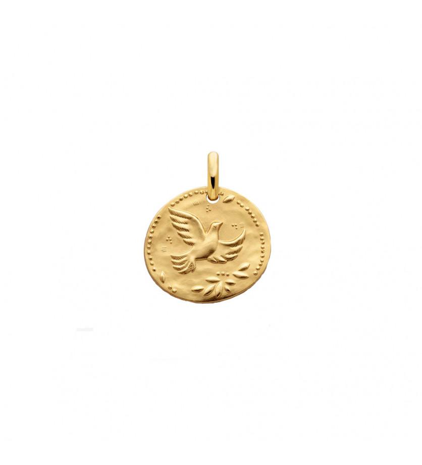 Médaille Galet Colombe aux étoiles 16 mm en or jaune