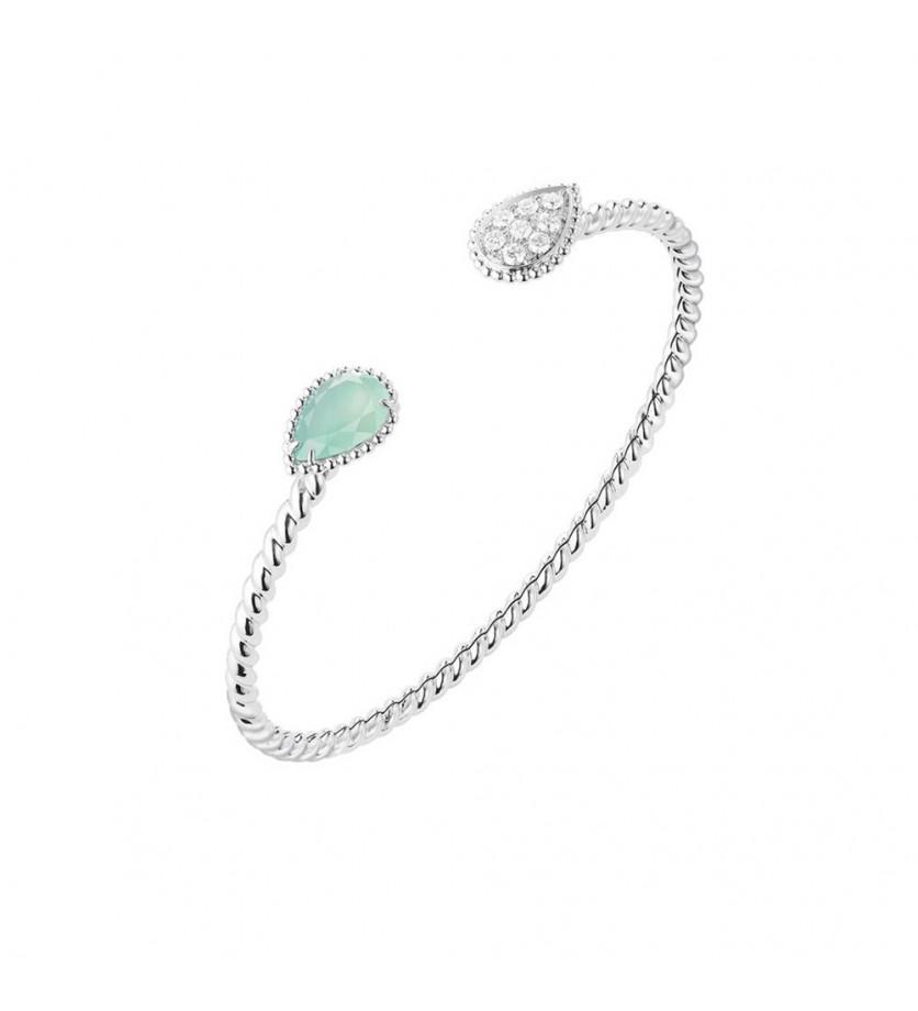 Bracelet Serpent Bohème PM en or blanc diamants et aquaprase taille poire