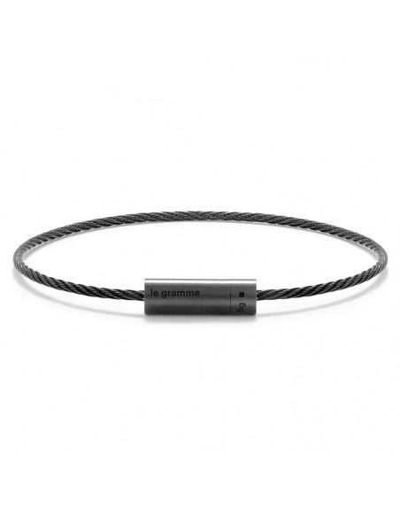 Bracelet câble céramique 5 Grammes lisse brossé céramique noire