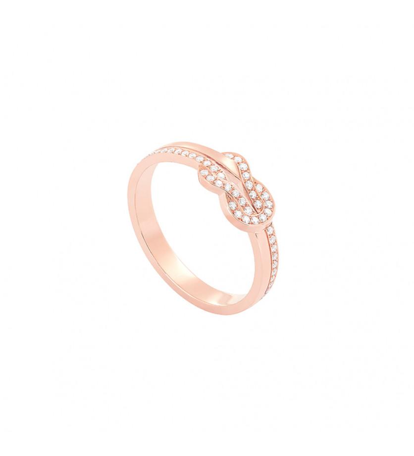 Bague Chance Infinie or rose semi pavé diamants
