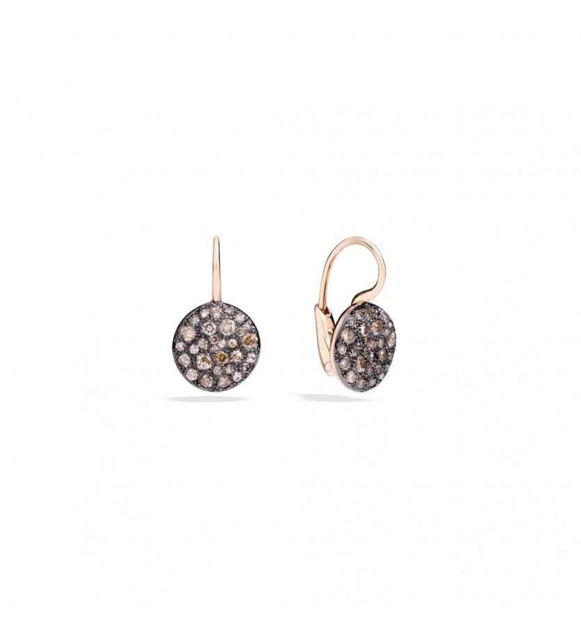 Boucles d'oreille Sabbia or rose diamants bruns
