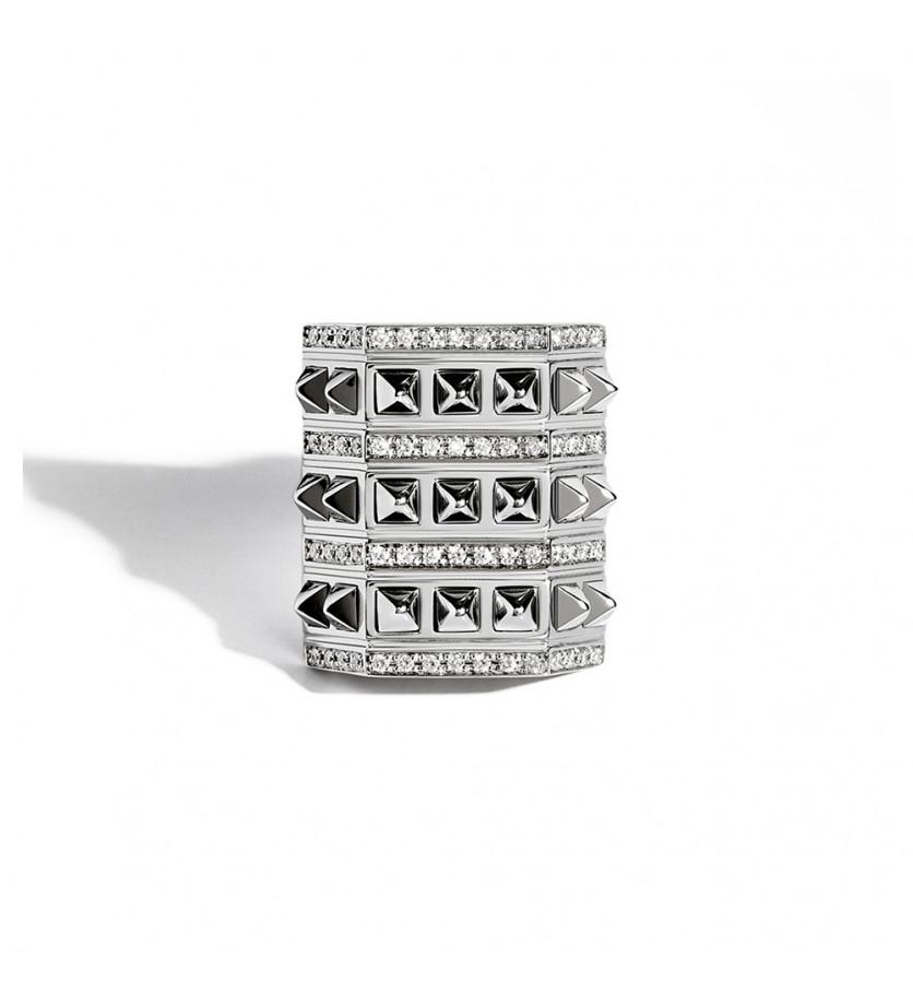 Bague Rockaway argent picots 3 rangs diamants