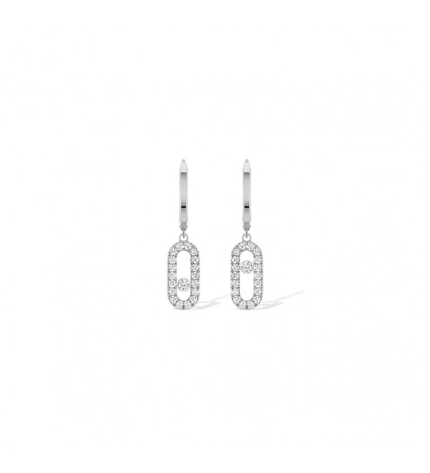 Boucles d'oreille créoles Move Uno or gris diamants