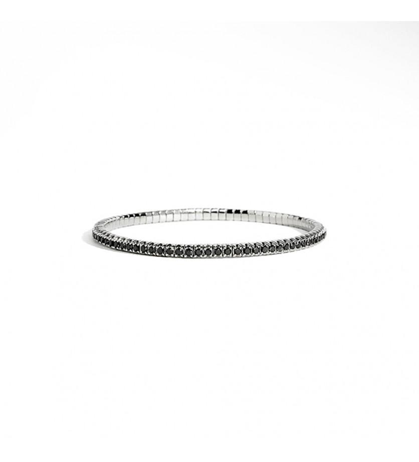 Bracelet Anyway argent diamants noirs