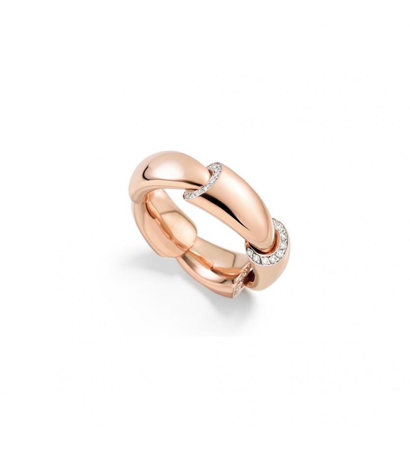 Bague Calla MM or rose pavée diamants