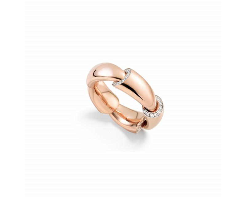 Bague Calla MM or rose pavés diamants