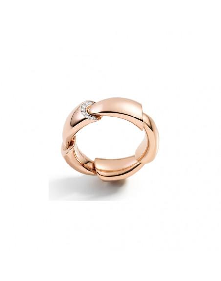 Bague Calla MM or rose pavé diamants