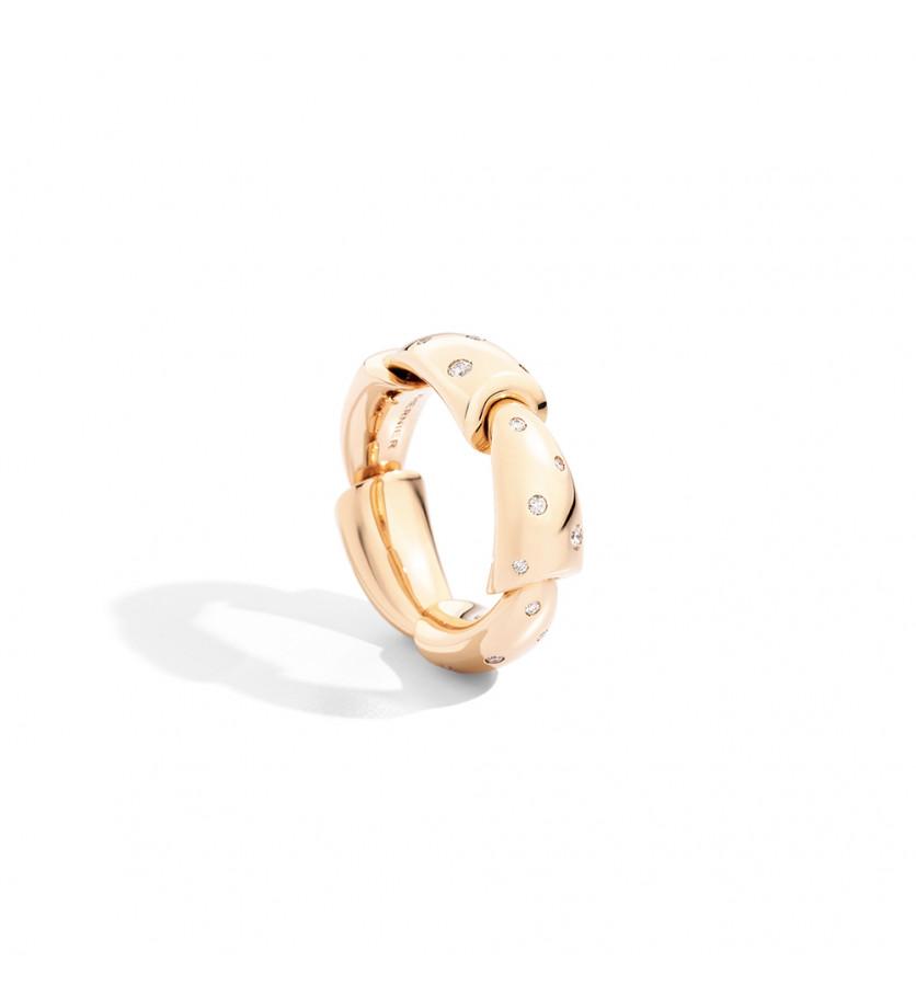 Bague Calla MM or rose diamants