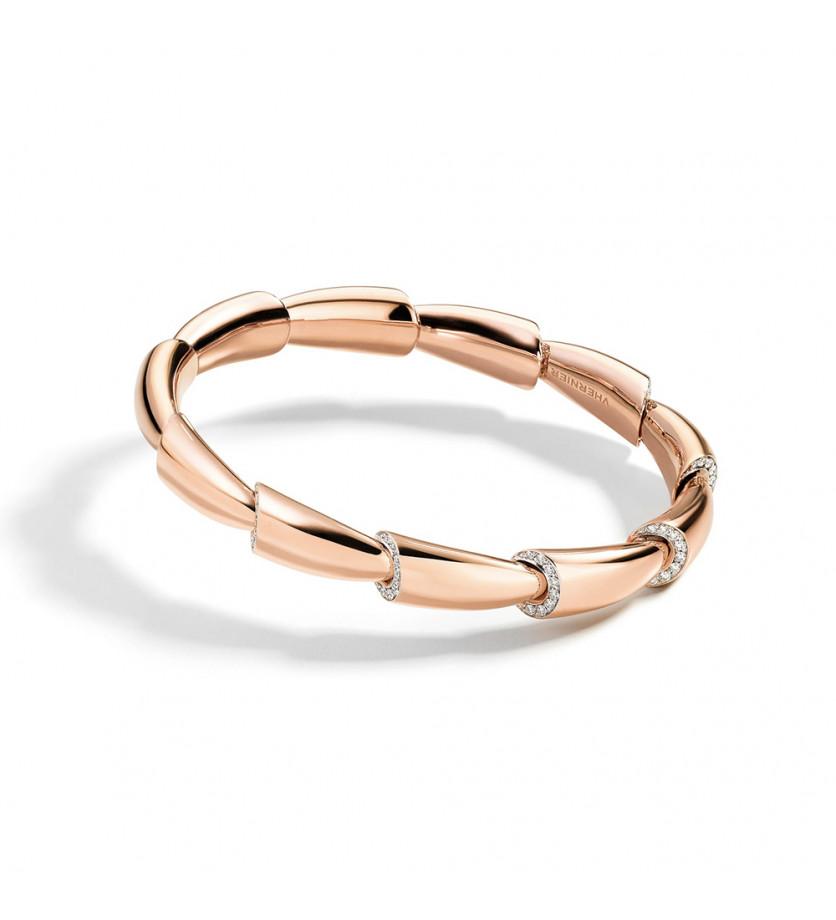 Bracelet jonc Calla MM or rose pavés diamants