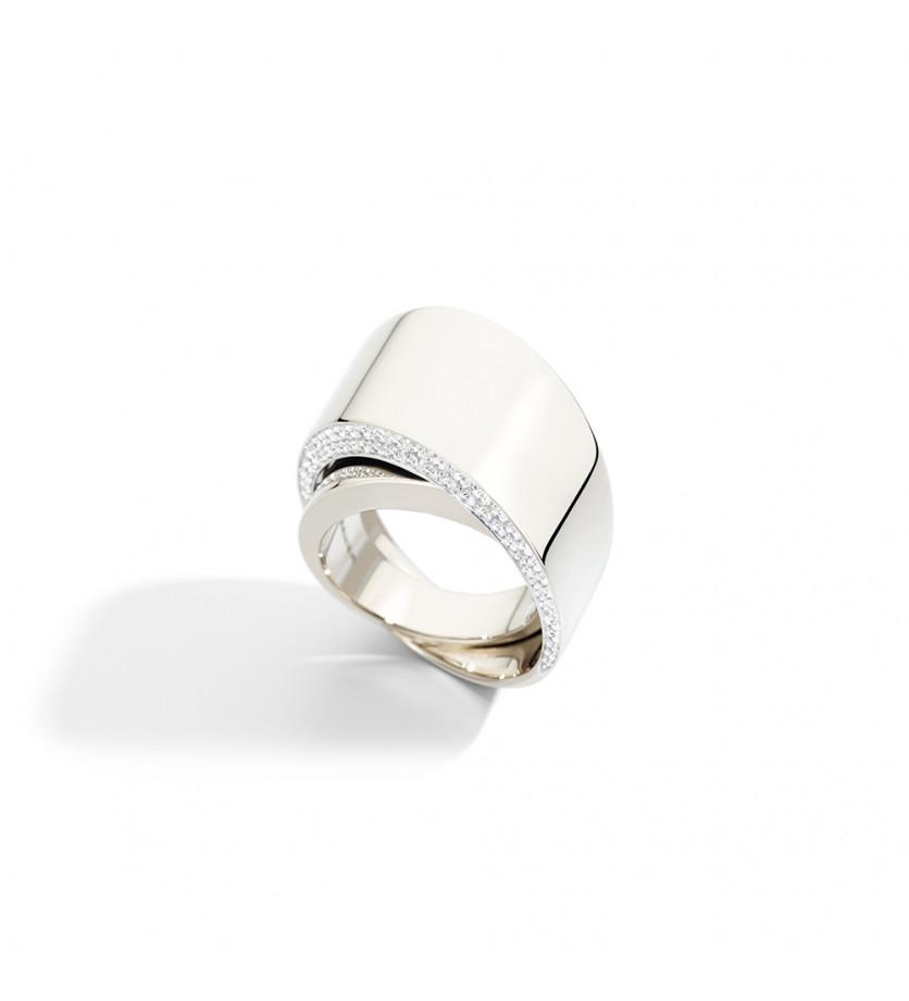Bague Tourbillon DX or blanc diamants blancs