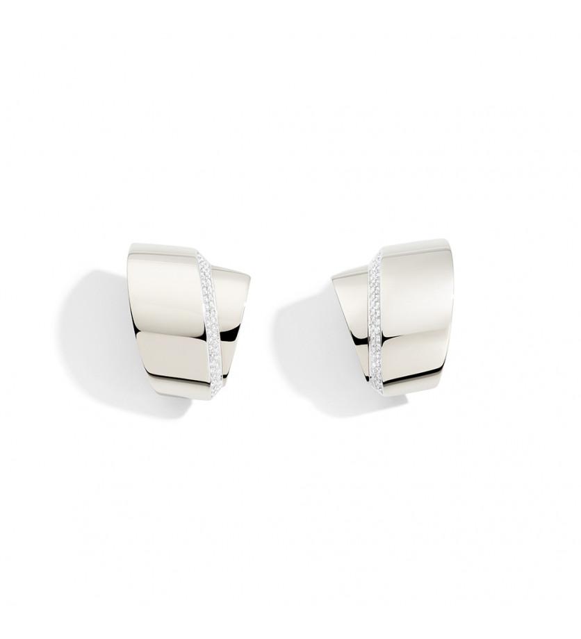 Boucles d'oreille Tourbillon or blanc diamants blancs