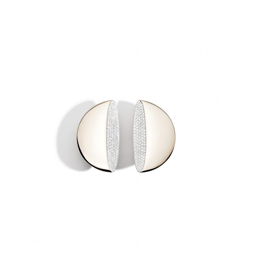 Boucles d'oreille Eclisse MM or blanc diamants blancs