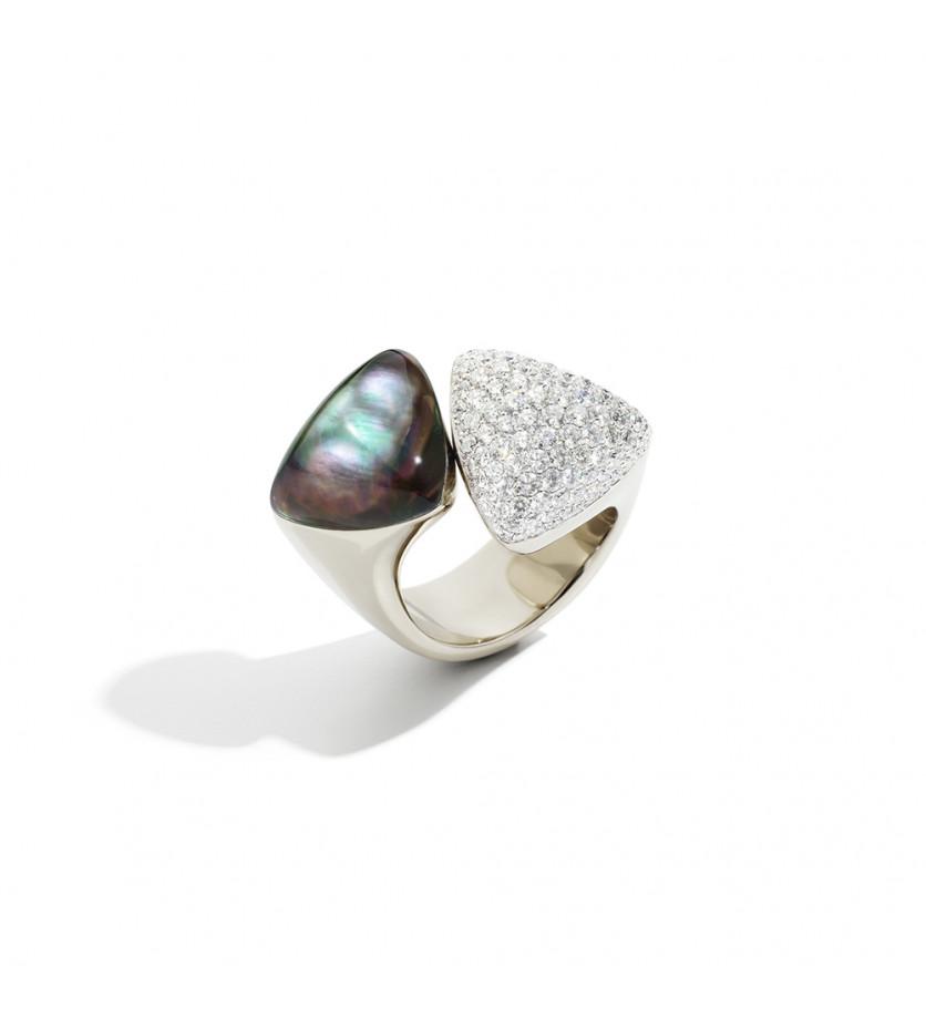 Bague Freccia or blanc diamants blancs cristal nacre gris
