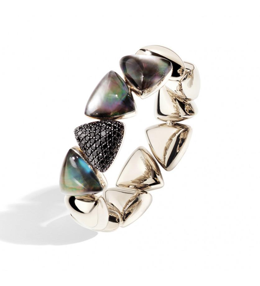 Bracelet Freccia or blanc diamants blancs cristal nacre gris