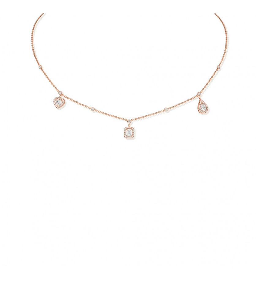 Collier My Twin trio or rose diamants