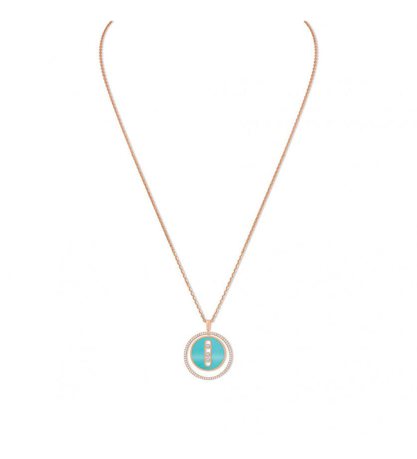 Collier Lucky Move MM or rose turquoise diamants