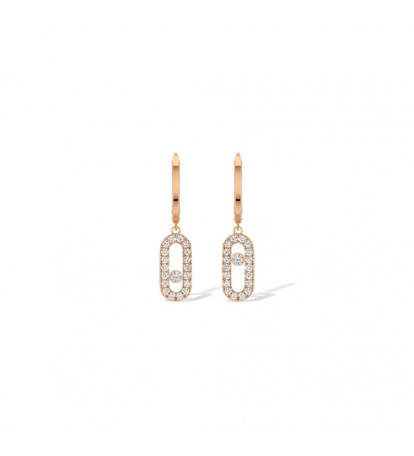 Boucles d'oreille créoles Move Uno or rose diamants