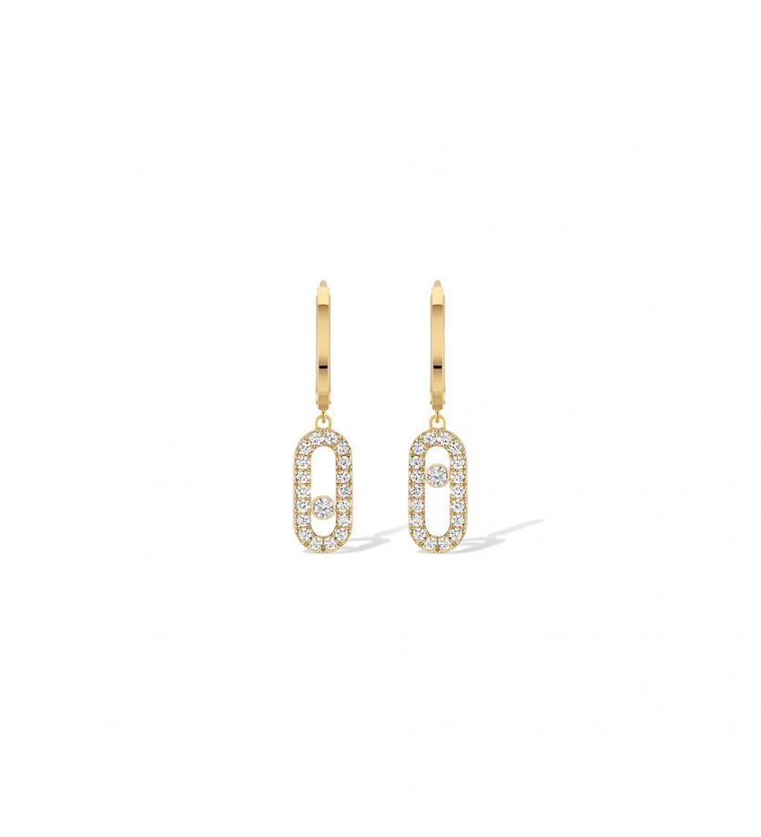 Boucles d'oreille Créoles Move Uno or jaune diamants