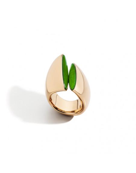 Bague Eclisse MM or rose cristal de jade