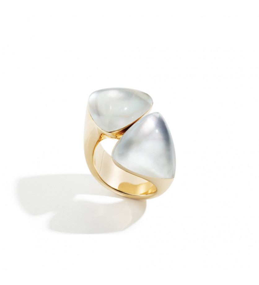 Bague Freccia or rose cristal nacre blanche