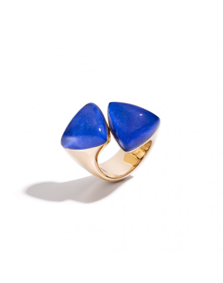 Bague Freccia or rose cristal et lapis lazuli