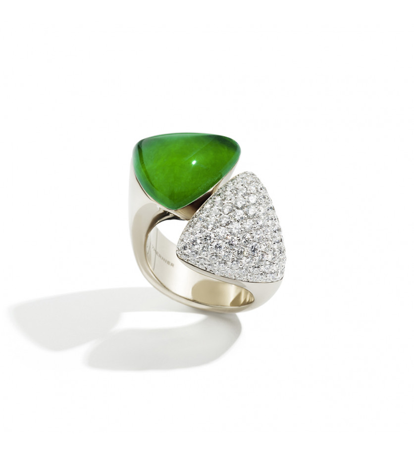 Bague Freccia or blanc diamants blancs cristal jade