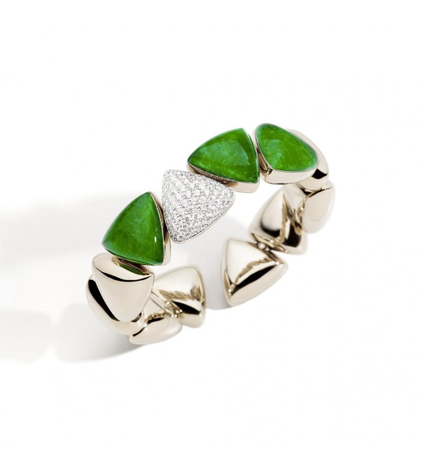 Bracelet Freccia or blanc diamants blancs cristal jade