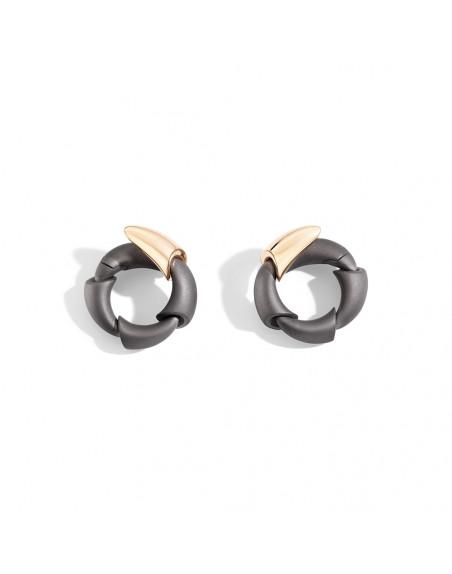 Boucles d'oreille Calla MM 1 motif or rose et titane