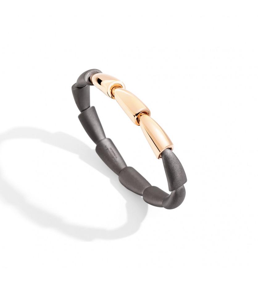 Bracelet jonc Calla MM 3 motifs en or rose et titane