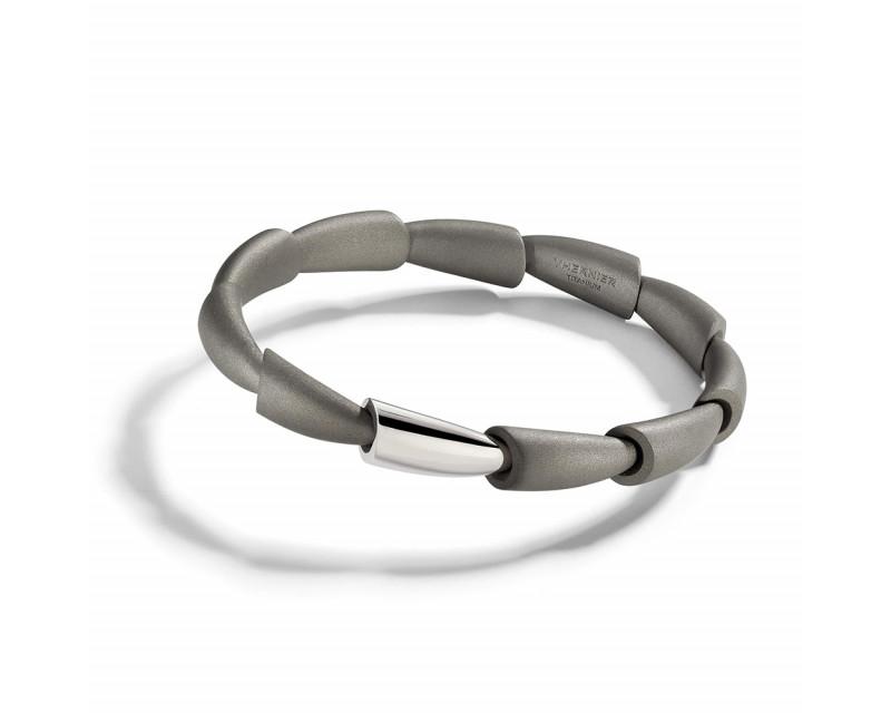 Bracelet jonc Homme Calla MM 1 motif en platine et titane