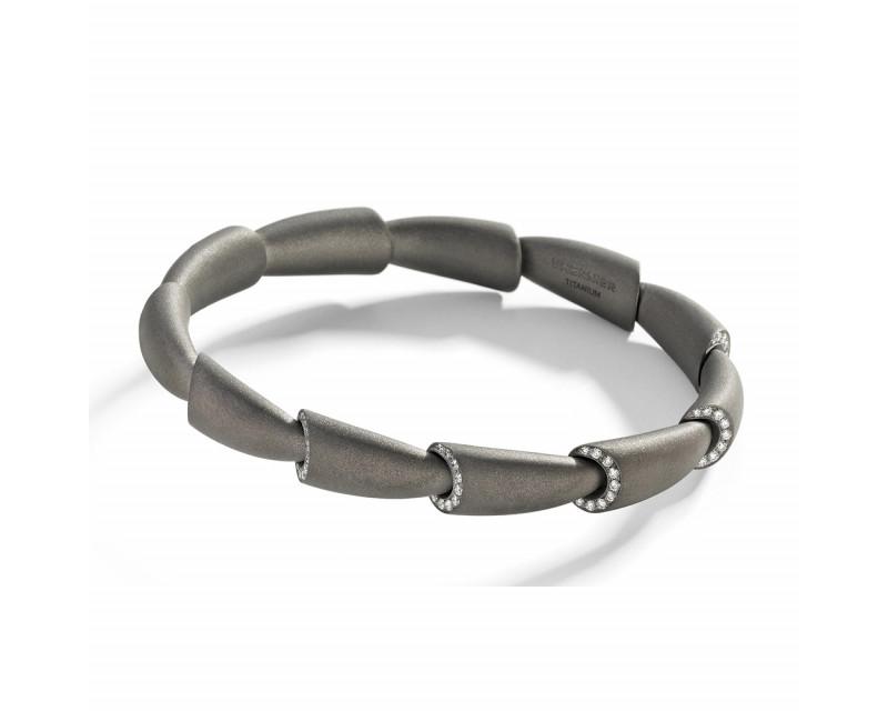 Bracelet jonc Calla MM titane et motifs pavés diamants