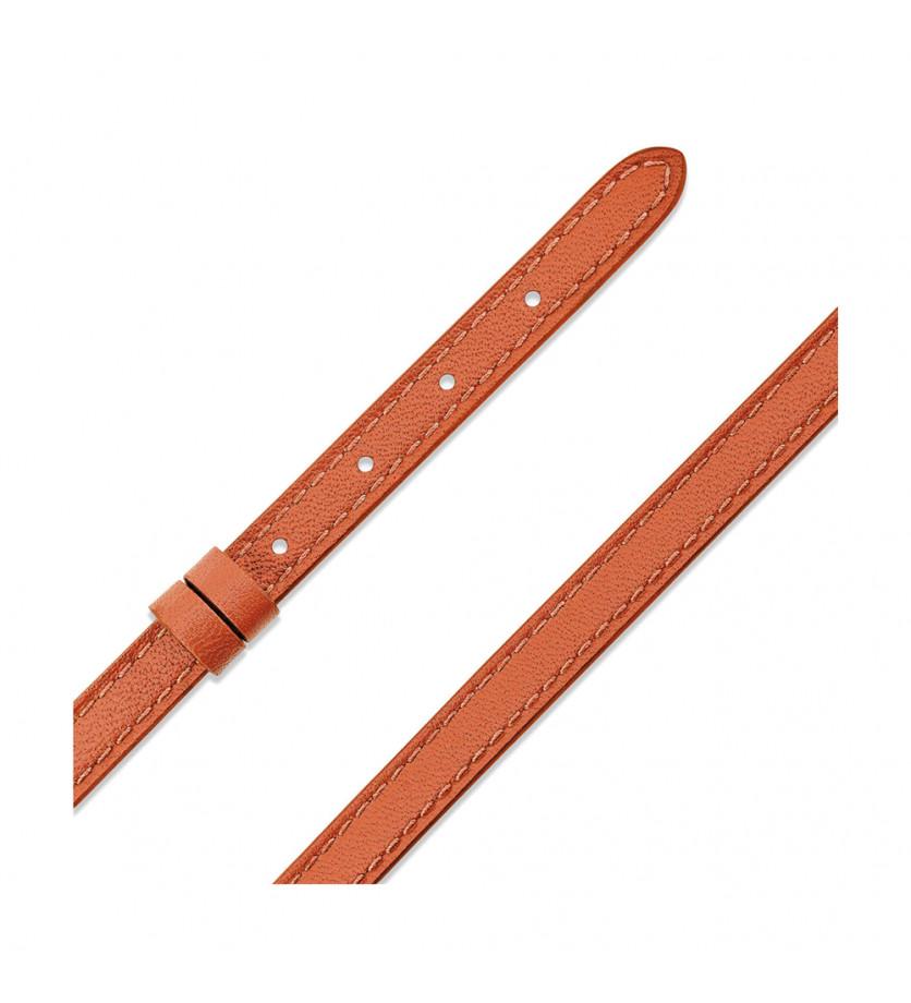 Bracelet configurable My Move en cuir double tour veau My Move orange tangerine Taille S-M