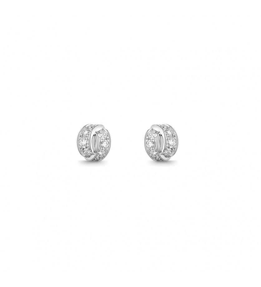 Boucles d'oreille puces Liens Seduction or gris diamants