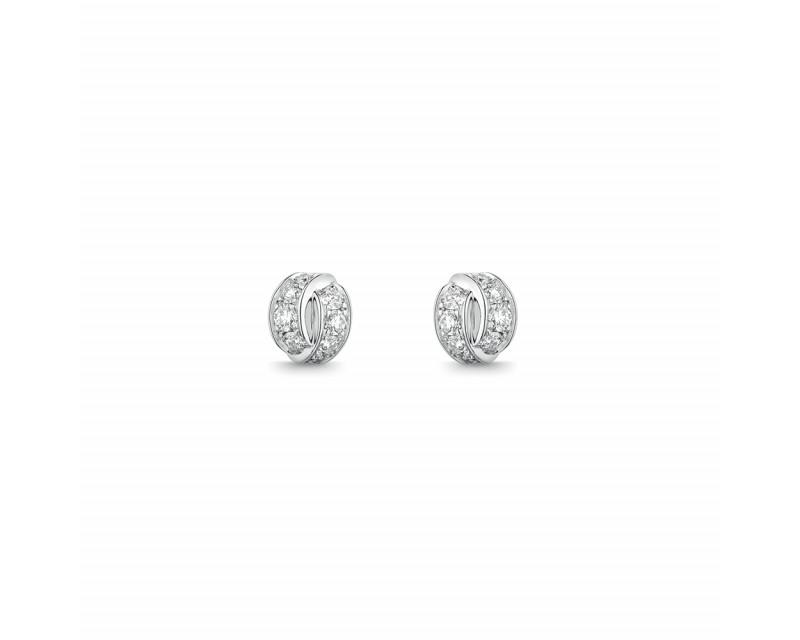 Puces d'oreille Liens Seduction or blanc diamants