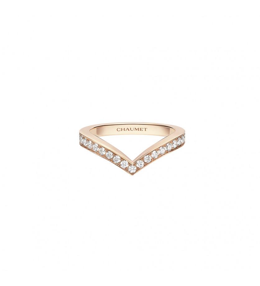 Bague Joséphine Aigrette or rose pavée diamants taille brillant