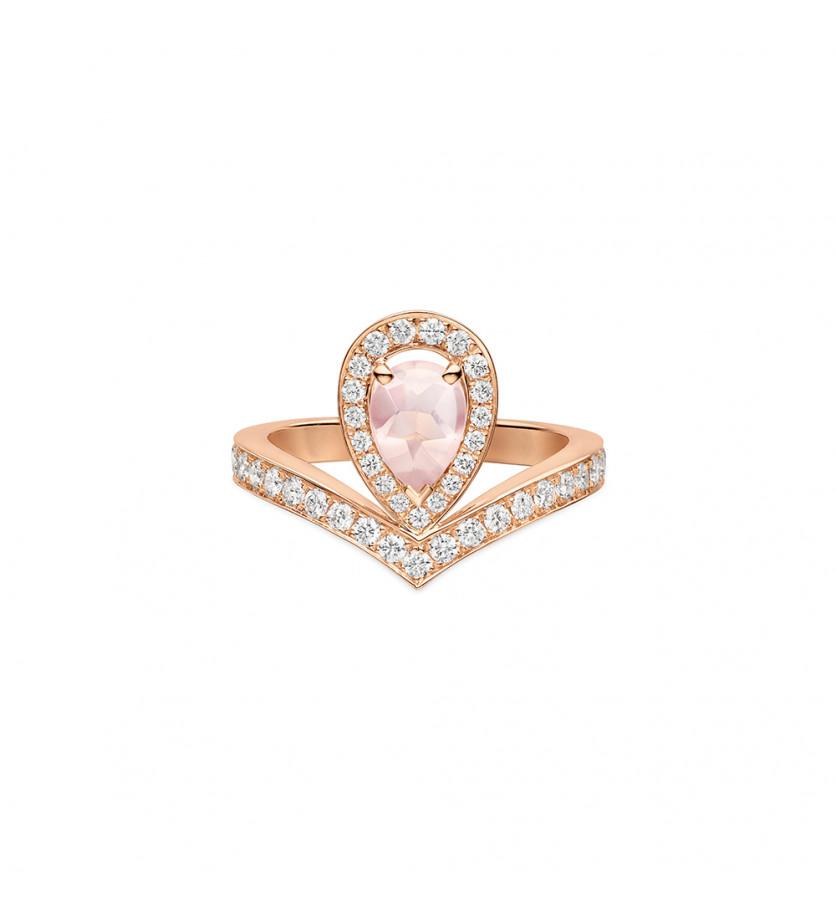 Bague Joséphine Aigrette or rose pavée diamants Quartz rose poire suiffé