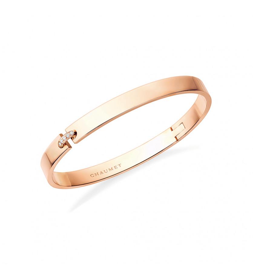 Bracelet Liens Evidence 6mm or rose lien pavé diamants