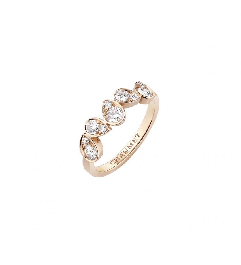 Bague Joséphine Ronde d'Aigrette or rose pavé de diamants taille brillant