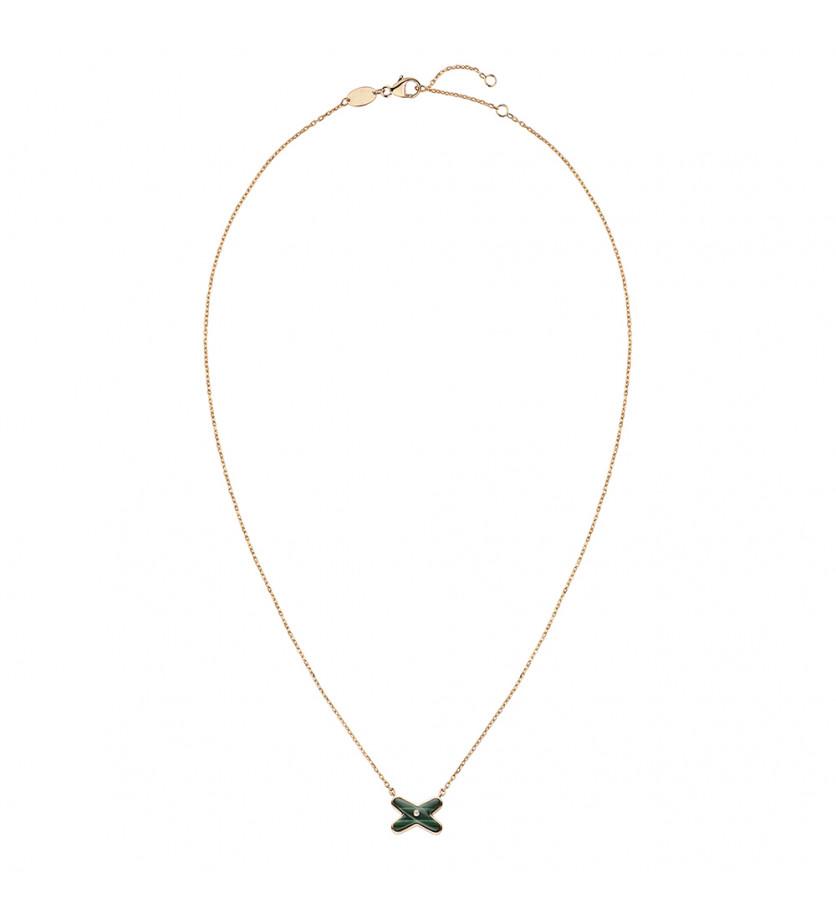 Pendentif Jeux de Liens malachite, un diamant, sur chaîne en or rose 42cm, ajustable