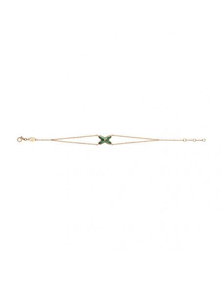 Bracelet Jeux de Liens malachite et un diamant sur double chaîne en or rose 17cm, ajustable