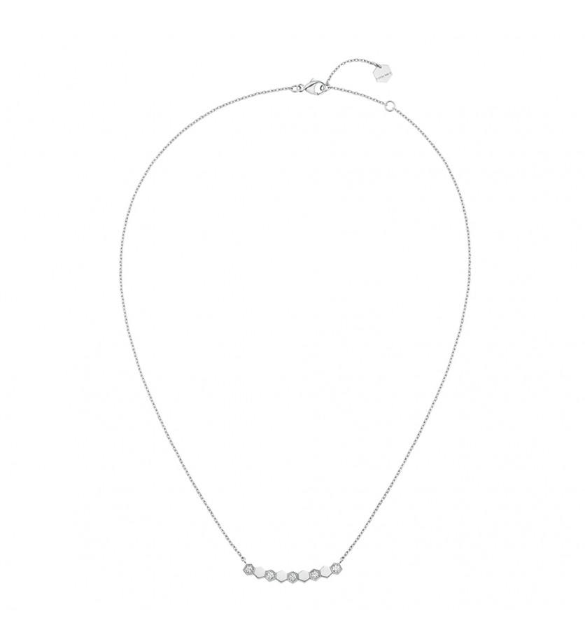 Collier sur chaîne 9 motifs Bee My Love or blanc semi pavé diamants