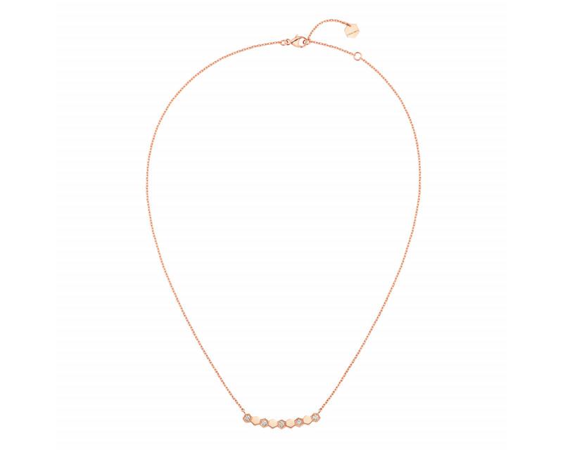 Collier sur chaîne 9 motifs Bee My Love or rose semi pavé diamants