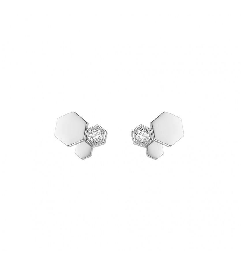 Boucles d'oreille puces Bee My Love 3 motifs or blanc diamants