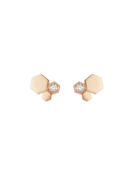 Boucles d'oreille puces Bee My Love 3 motifs or rose diamants