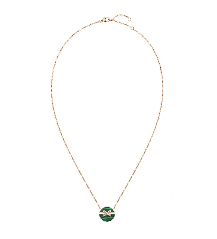 Pendentif Jeux de Liens Harmony petit modèle or rose et malachite, liens pavés diamants, sur chaîne