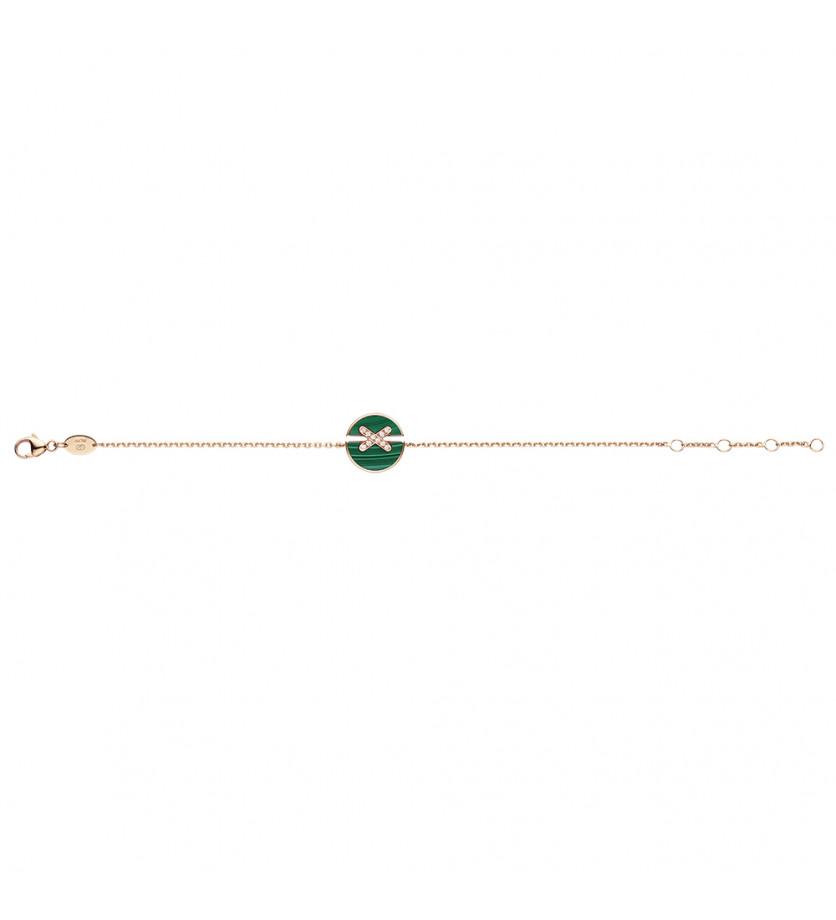 Bracelet Jeux de Liens Harmony en or rose, malachite et diamants sur chaîne