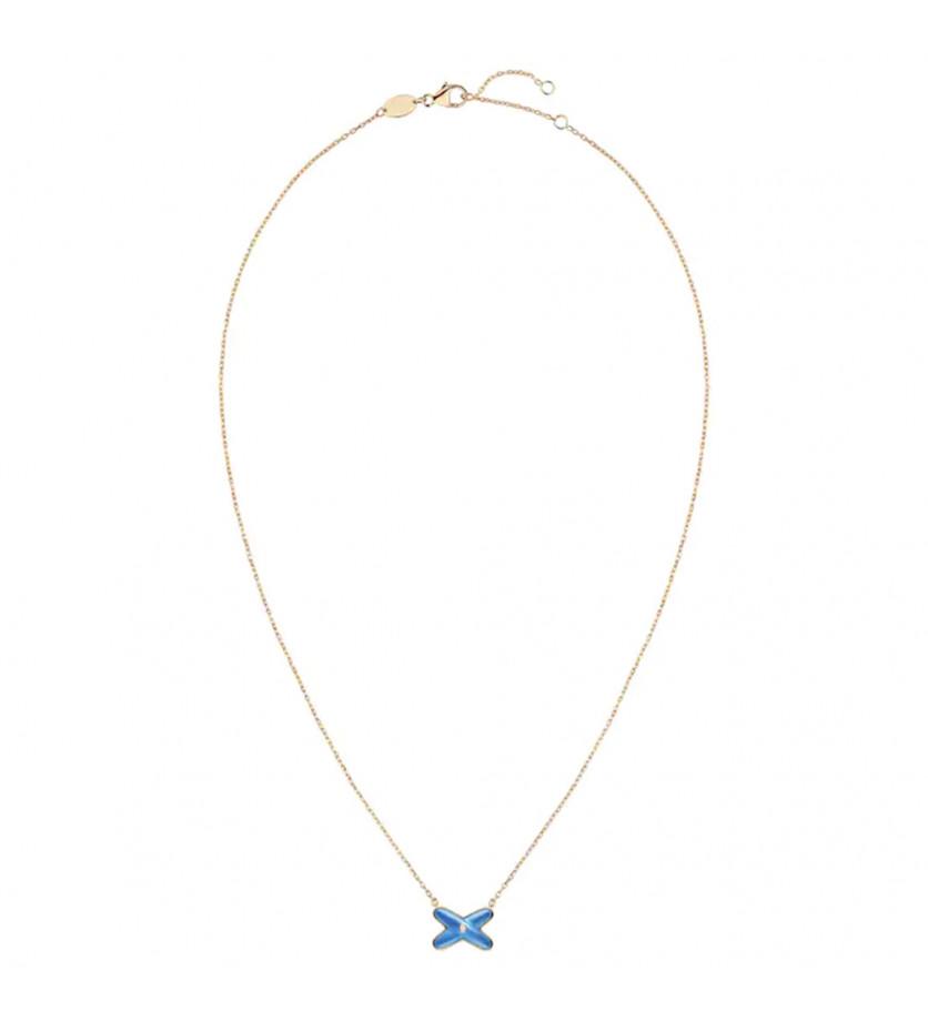 Pendentif Jeux de Liens or rose agate bleue 1 diamant, sur chaîne or rose