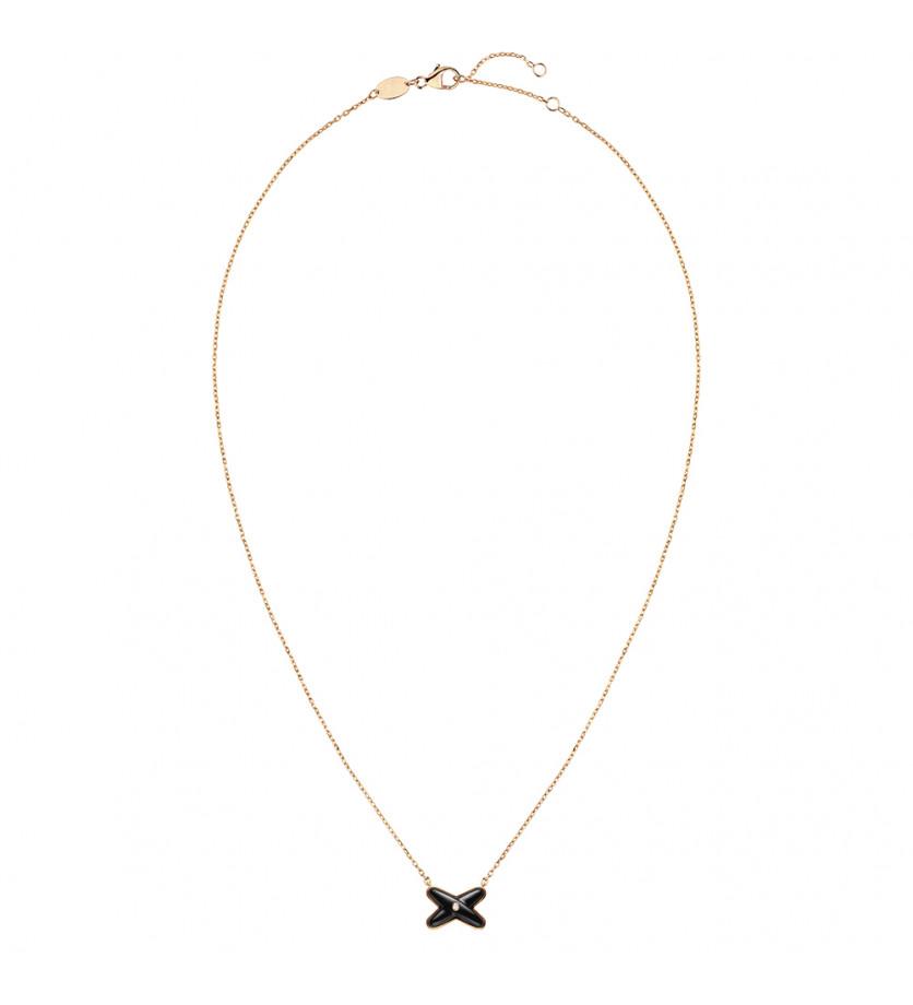 Pendentif Jeux de Liens en or rose, onyx et 1 diamant, sur chaîne or rose